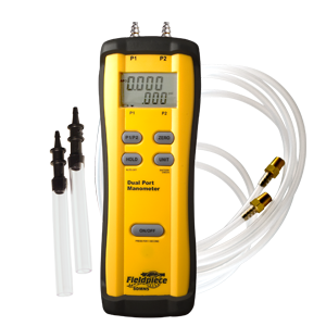 """Fieldpiece Manometer, -60 to 60"""" WC, +/-1.5% Full Scale, Rugged Rubber Boot, Digital, Standalone, Differential, 2-Port"""