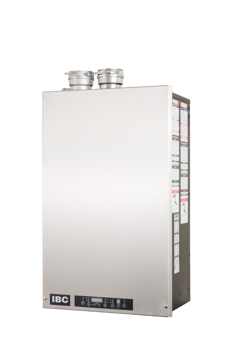 "IBC Cast Aluminum with 2  Embeded Independant Copper Water Ways Combi Boiler, Space Heat and Tankless DHW, 1"" Heating and 3/4"" DHW Supply/Return 33-160 MBH Input, 94% AFUE, Natural/Propane Gas, Wall Mount, Direct Vent"