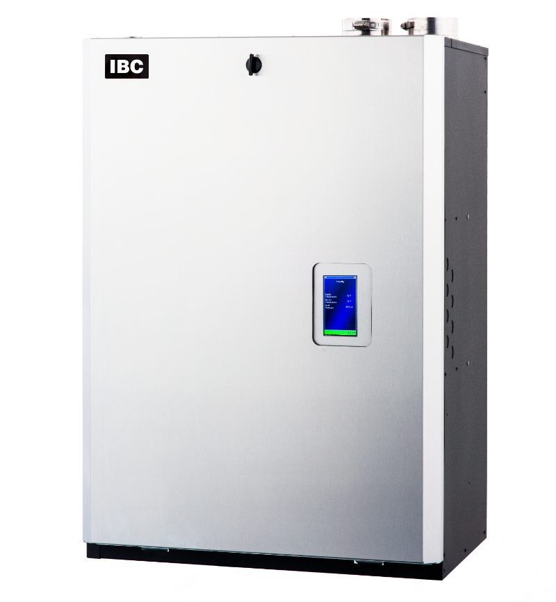 """IBC Stainless Steel Fire Tube Boiler, 1-1/2"""" NPT Supply/Return, 26-260 MBH Input, 95% AFUE, Natural/Propane Gas, Wall Mount, Induced Draft/Direct Vent"""