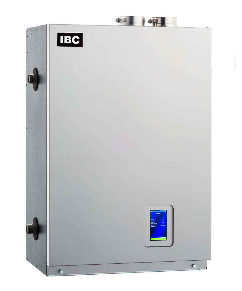 "IBC Stainless Steel Fire Tube Boiler, 1-1/4"" NPT Supply/Return, 30-199 MBH Input, 95% AFUE, Natural/Propane Gas, Wall Mount, Induced Draft/Direct Vent"