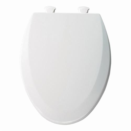 """Bemis Toilet Seat with Cover, 14-1/8"""" x 18-7/8"""", White, Enameled Wood, Closed Front, Elongated"""