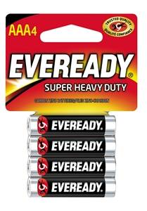 Eveready 1212 Non-Rechargeable Super Heavy Duty Battery, 1.5 V, AAA, Zinc Manganese Dioxide