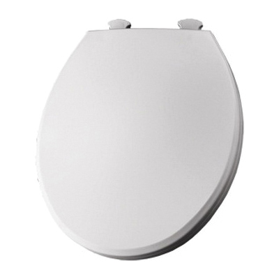 Bemis Round Front Plastic Toilet Seat, Easy Clean Hinge - White