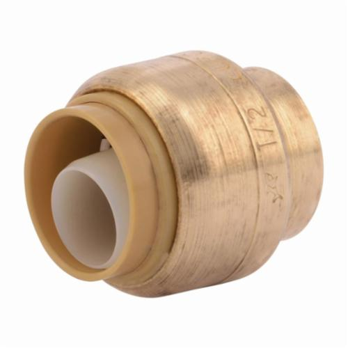 """SharkBite Cap, 1/2"""", Push-to-Connect, 200 PSI, Lead-Free, EPDM O-Ring, Natural Brass/Chrome Plated DZR Brass, End"""