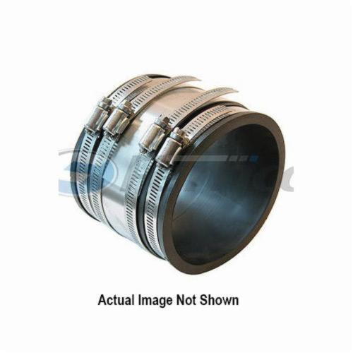 "Fernco 4"" x 4"" PVC Coupling, Flexible, Standard, Cast Iron/Plastic/Copper/Steel/Lead to Cast Iron/Plastic/Copper/Steel/Lead, 4.3 PSI Test"