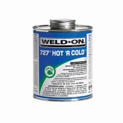 Weld-On 727™, Hot 'R Cold™ 727™ Hot 'R Cold™ Solvent Cement, 1 Pint, Can with Applicator Cap, Clear, Liquid, Medium