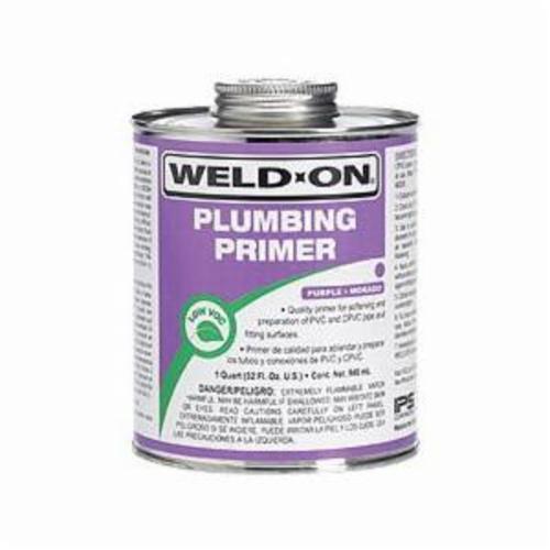 Weld-On Plumbing Primer, 1 Quart, Can with Applicator Cap, -4 Deg F Flash Point, Purple