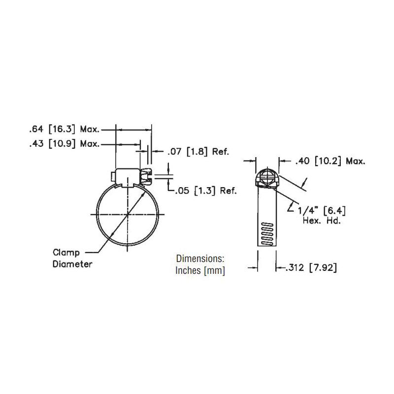 "Jones Stephens 1/4 to 5/8"" Diameter Stainless Steel Gear Clamp, Micro Size"