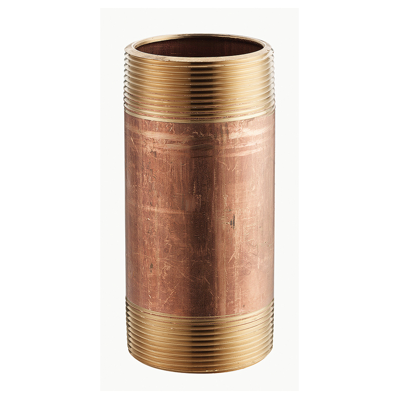 "1/2"" x 2"" Red Brass Nipple, MPT x MPT, Lead-Free, Schedule 40"