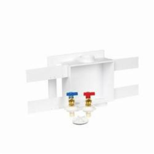 "Oatey Quadtro® Washing Machine Outlet Box, 8-3/4"" x 7-1/2"" x 3-5/8"", 11-3/4"" x 10-1/8"" Faceplate, Lead-Free, High Impact Polystyrene, 1/4 Turn Brass Hammer Valve, Offset Drain, Center Drain"